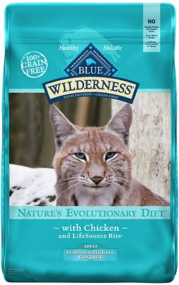 Blue Buffalo Wilderness Chicken Recipe Indoor Hairball Control Grain-Free Dry Cat Food