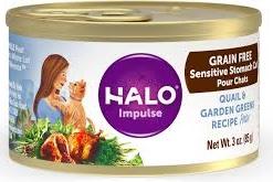 Halo Quail & Garden Greens Recipe Grain-Free Sensitive Stomach Canned Cat Food